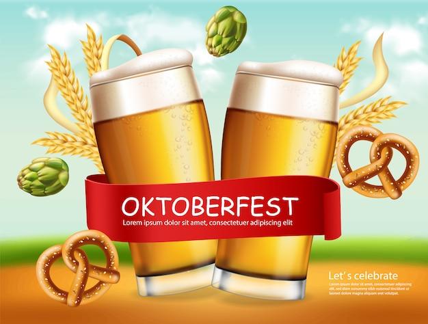 Banner de canecas de cerveja outubro fest
