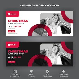 Banner de capa do facebook para oferta de venda de feliz natal