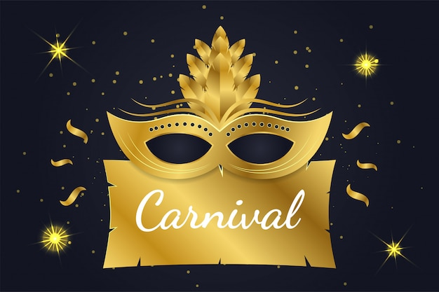 Banner de carnaval dourado sobre fundo escuro e brilhante