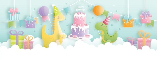 Banner de cartão de aniversário com dinossauro fofo e caixas de presente, bolo de aniversário.