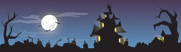 Banner de cartão de cemitério de cemitério de casa de halloween