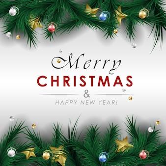 Banner de cartão de feliz natal feliz ano novo. feliz natal e feliz ano novo fundo.