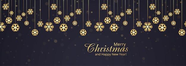 Banner de cartão de flocos de neve de natal