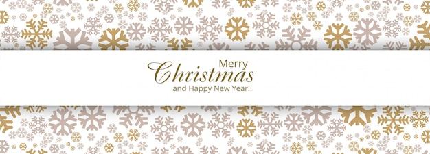 Banner de cartão elegante feliz natal flocos de neve decorativos