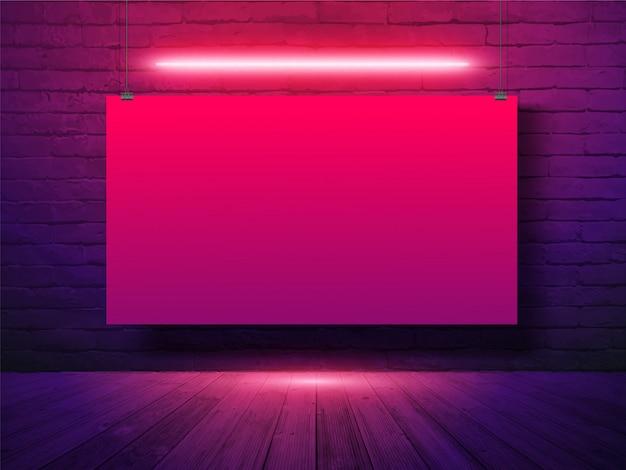 Banner de cartaz de maquete vetor pendurado com no fundo da parede de tijolo, luz de néon
