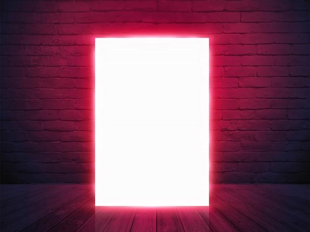 Banner de cartaz de tela de caixa de luz iluminada com na parede de tijolo