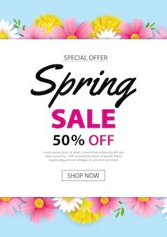 Banner de cartaz de venda de primavera com flores desabrochando fundo