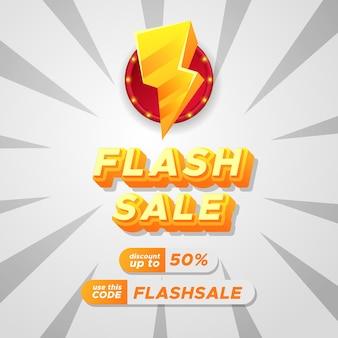 Banner de cartaz publicitário de promoção de desconto de venda em flash com texto 3d e ícone de um raio amarelo
