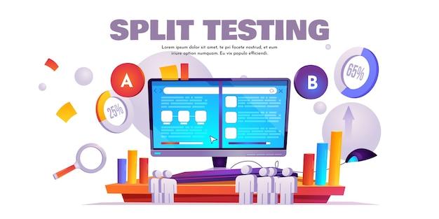 Banner de cartoon de teste de divisão ab, comparação de site