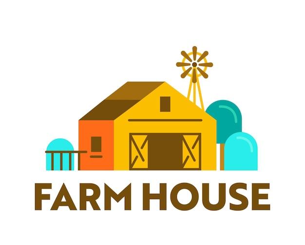 Banner de casa de fazenda com celeiro de madeira no rancho