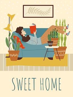 Banner de casa doce com mulher lendo no sofá ilustração vetorial plana