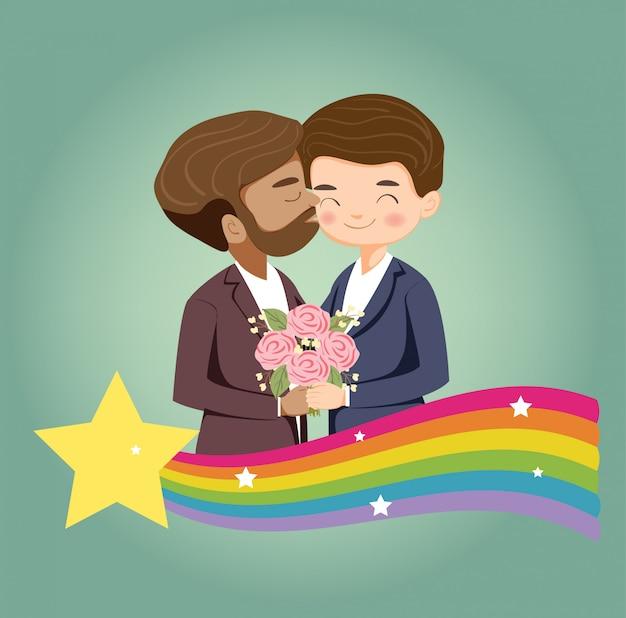 Banner de casal e orgulho lgbtq