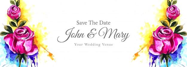 Banner de casamento floral colorido em estilo aquarela