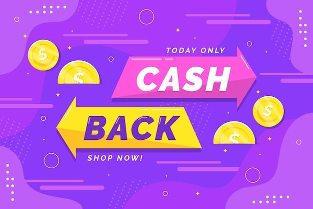 Banner de cashback com moedas ilustradas