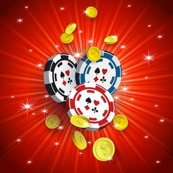 Banner de cassino com fichas e moedas de ouro