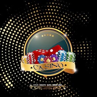 Banner de cassino de pôquer com fichas e dadinhos