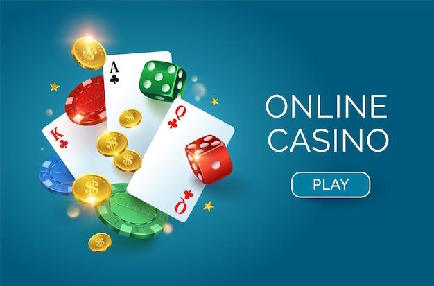 Banner de cassino online com cartões e fichas de moedas de ouro de dados