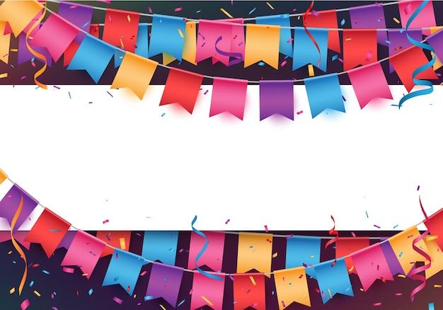 Banner de celebração alegre com bandeiras coloridas