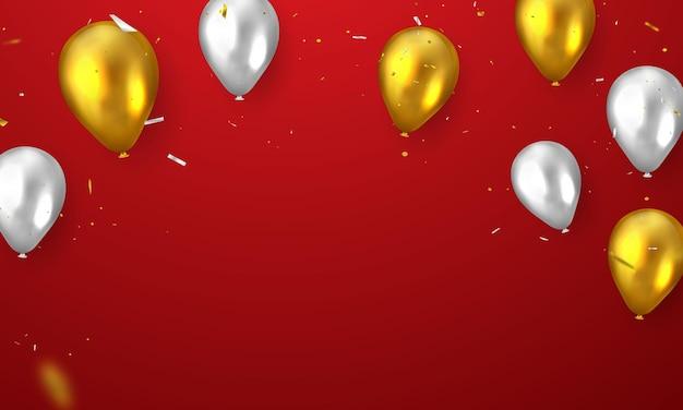 Banner de celebração com balões dourados e vermelhos