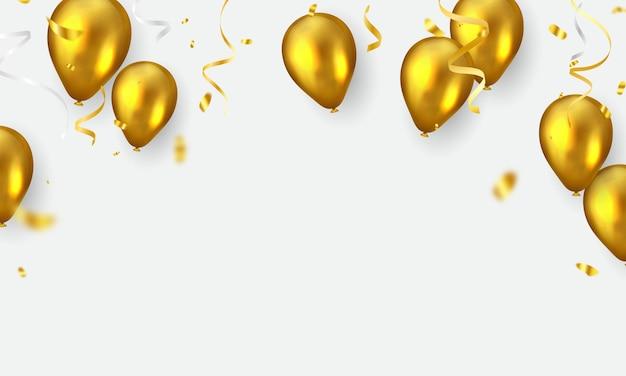 Banner de celebração com balões dourados