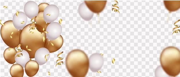 Banner de celebração com confete dourado e balões isolados