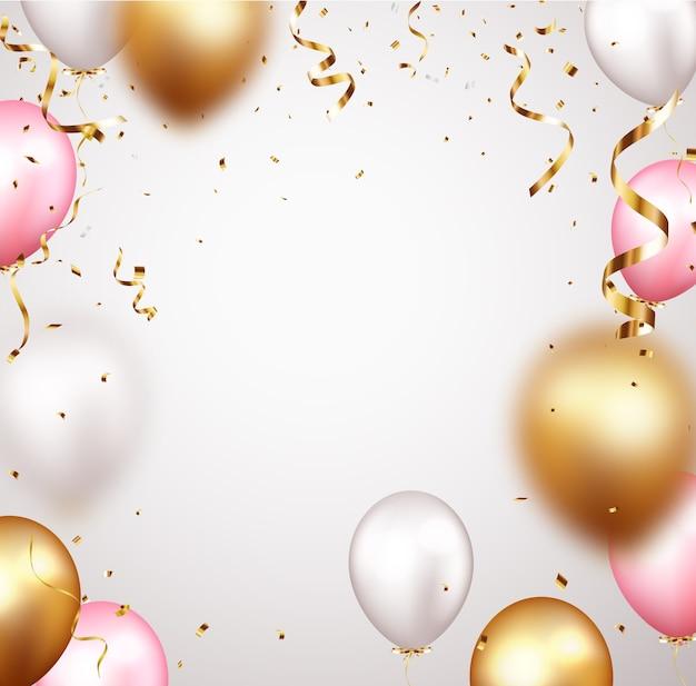 Banner de celebração com confete dourado e balões