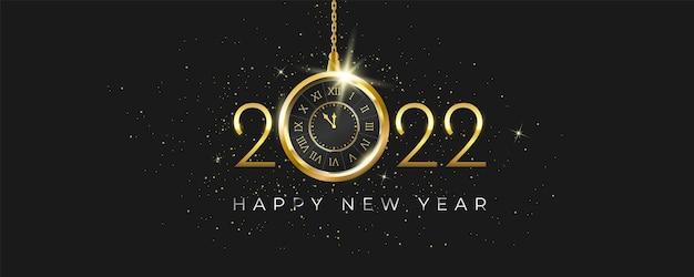 Banner de celebração de ano novo luxuoso com relógio de ouro antigo pendurado em estrelas cintilantes