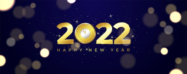 Banner de celebração de ano novo luxuoso com relógio vintage dourado brilhante em fundo azul escuro