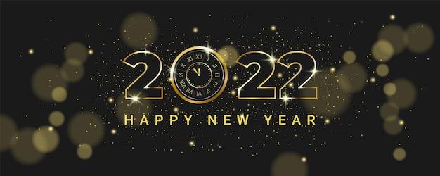 Banner de celebração de ano novo luxuoso com relógio vintage dourado brilhante