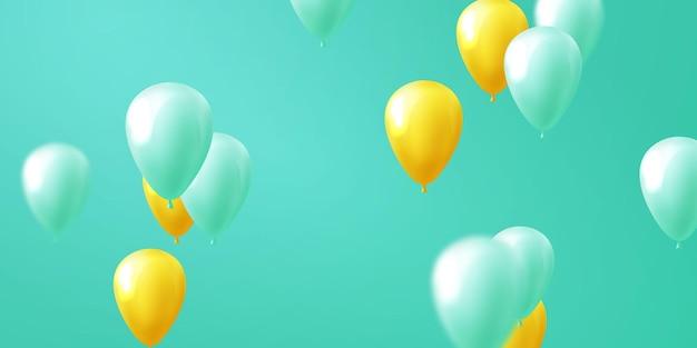 Banner de celebração de balões verde amarelo
