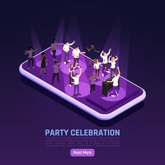 Banner de celebração de festa com pessoas dançando em cima de smartphone