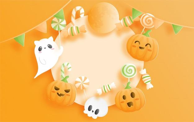 Banner de celebração de halloween com abóbora e fantasma.