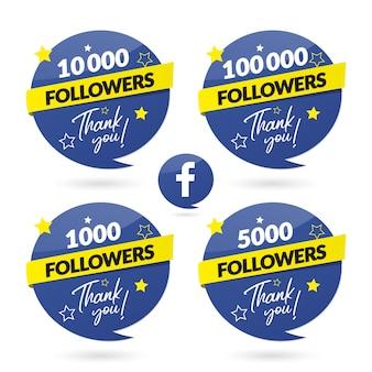 Banner de celebração de seguidores do facebook e logotipo