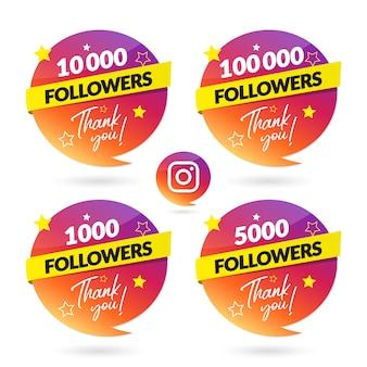 Banner de celebração de seguidores do instagram e logotipo