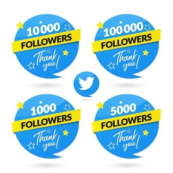 Banner de celebração de seguidores do twitter e logotipo