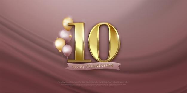 Banner de celebração do 10º aniversário com balões realistas
