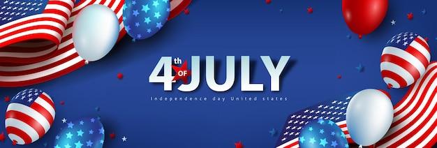Banner de celebração do dia da independência dos eua com balões americanos e bandeira dos estados unidos