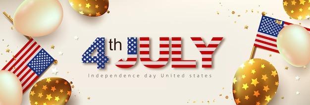 Banner de celebração do dia da independência eua com balões e bandeira dos estados unidos. 4 de modelo de cartaz de julho.
