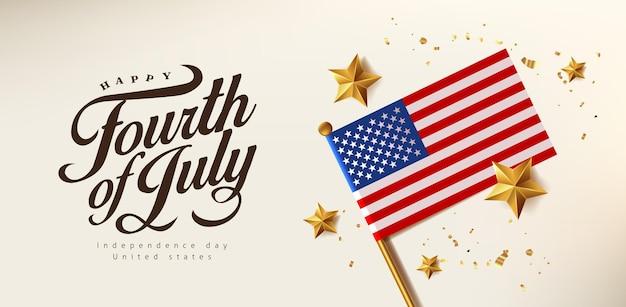 Banner de celebração do dia da independência eua com estrela dourada realista e bandeira dos estados unidos. 4 de modelo de cartaz de julho.