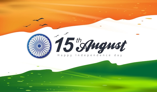 Banner de celebração do dia da independência índia com respingos de cor de bandeira. modelo de cartaz de 15 de agosto.