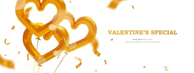 Banner de celebração do dia dos namorados de luxo com balão de folha de ouro em formato de coração realista e confetes