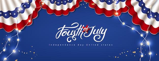 Banner de celebração do eua do dia da independência com decoração festiva americana. 4 de modelo de cartaz de julho.