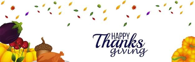 Banner de celebração do feliz dia de ação de graças
