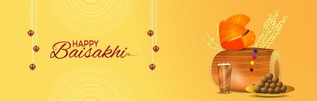 Banner de celebração do festival feliz vaisakhi indain sikh