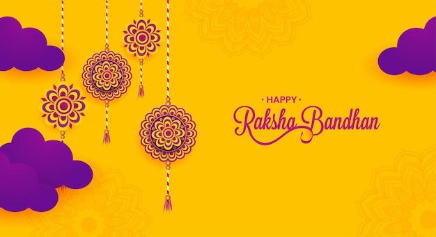 Banner de celebração feliz raksha bandhan, cartaz ou design de cartão criativo, vetor premium.