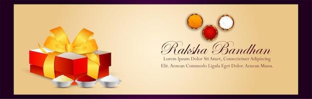 Banner de celebração feliz raksha bandhan com presentes criativos