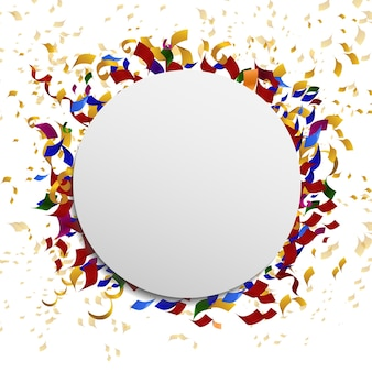 Banner de celebração redondo com confete. carnaval de festival de quadro de decoração, ilustração vetorial