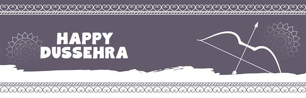 Banner de celebração tradicional de dussehra feliz com arco e flecha