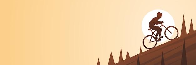 Banner de cena de escalada de bicicleta de montanha