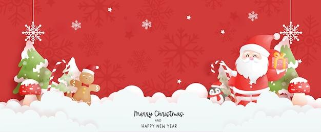 Banner de cena de natal com papai noel fofo e árvore de natal